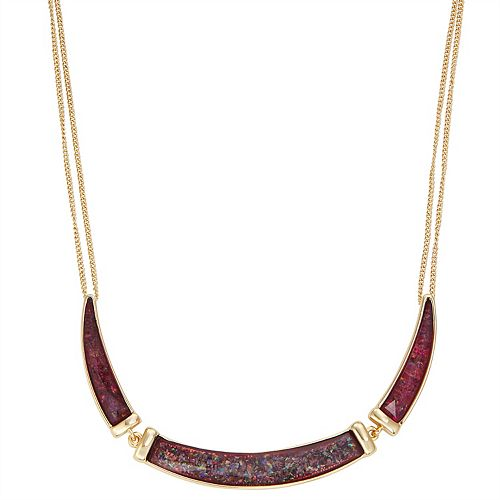 Dana Buchman Gold Burgundy Abalone Frontal Necklace