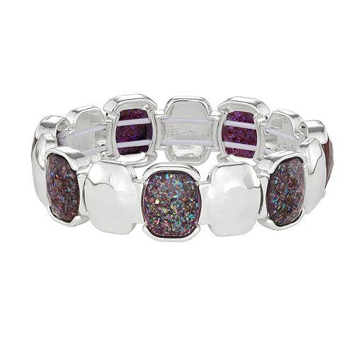 Dana Buchman Silver Amethyst Stretch Bracelet