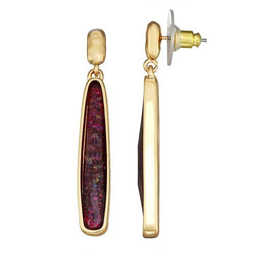 Dana Buchman Gold Burgundy Abalone Linear Post Earrings