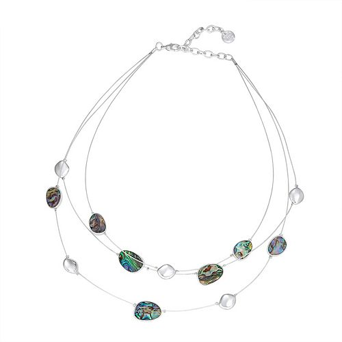 Dana Buchman Silver Tone Abalone Illusion Necklace