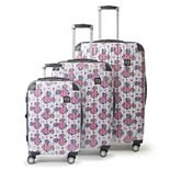 FUL Disney Minnie Mouse Floral 3-Piece Set Hardside Spinner Luggage Set