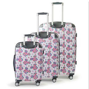 FUL Disney Minnie Mouse Floral 3-Piece Set Hardside Spinner Luggage Set