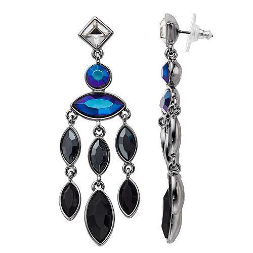 Nine West Blue & Black Simulated Crystal Chandalier Drop Earrings