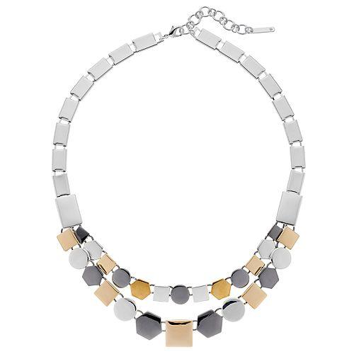 Nine West Tri Tone Geometric Collar Necklace