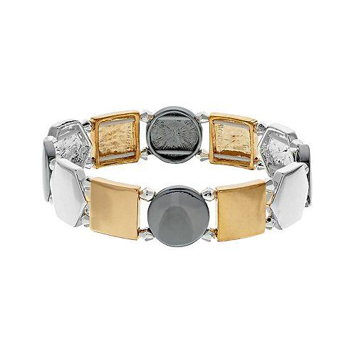 Nine West Tri Tone Geometric Stretch Bracelet