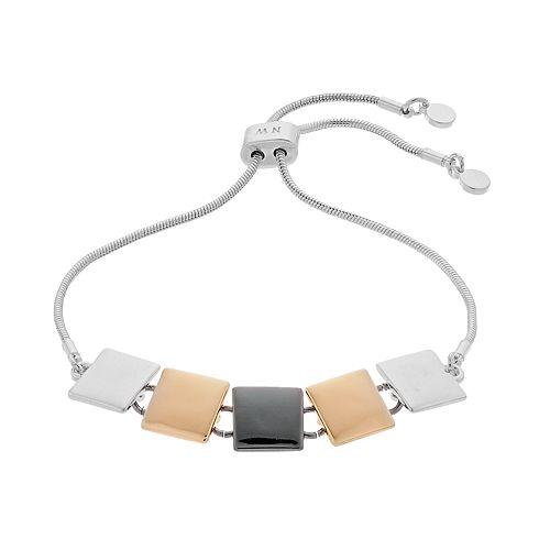 Nine West Tri Tone Square Link Bracelet