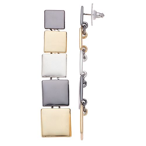 Nine West Tri Tone Square Linear Drop Earrings