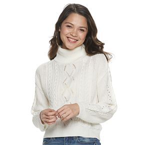 Juniors' Almost Famous Puff Sleeves Mock Neck Cable Pullover Sweater
