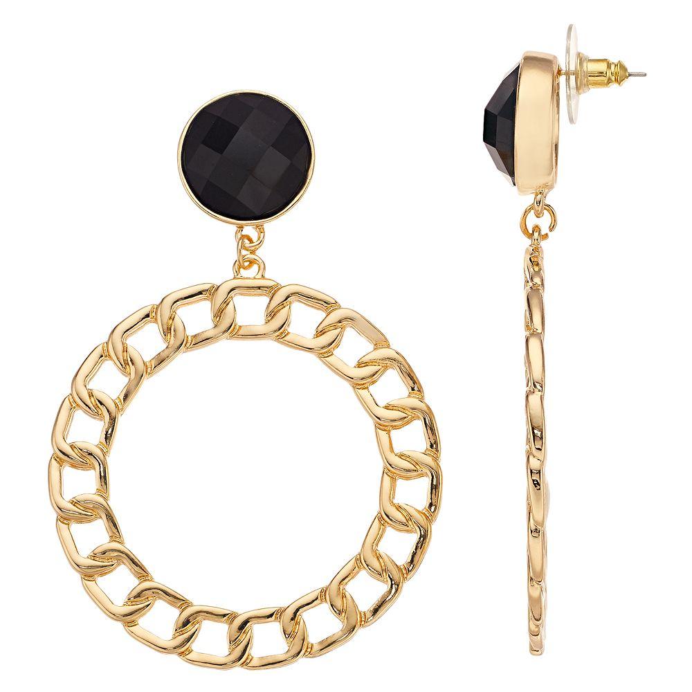 Nine West Gold Tone Open Chain Drop Earrings