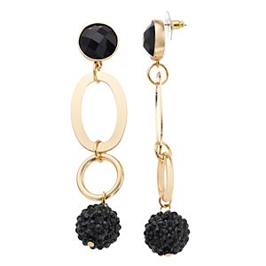 Nine West Gold Tone & Black Chain Link & Fireball Bead Drop Earrings