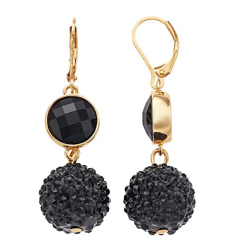 Nine West Gold Tone & Black Double Drop Fireball Bead Earrings