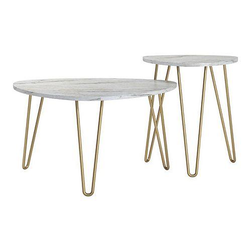 Novogratz Athena Faux Marble Nesting End Table 2-piece Set