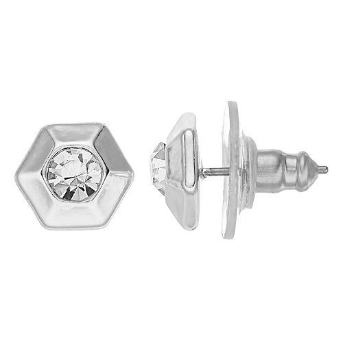 Nine West Silver Crystal Hexagon Stud Earrings