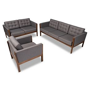 Baxton Studio Lenne Sofa, Loveseat & Chair 3-piece Set