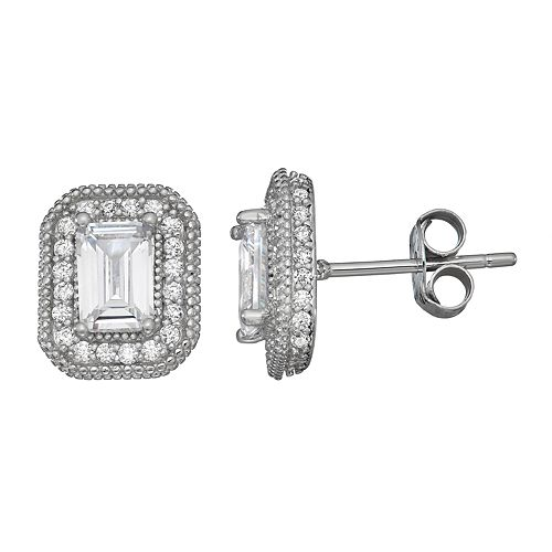 Contessa Di Capri Cubic Zirconia Emerald Cut Earrings