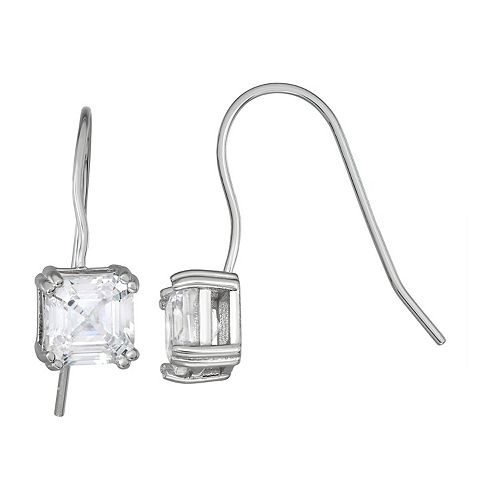 Contessa Di Capri Sterling Silver Cubic Zirconia Asscher Cut Drop Earrings