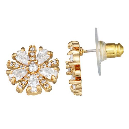 Dana Buchman Gold Tone Cubic Zirconia Starburst Earrings