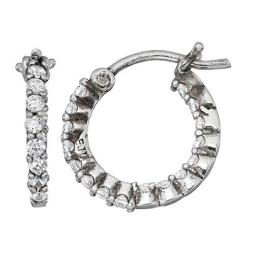 Contessa Di Capri Cubic Zirconia Inside Out Hoop Earrings