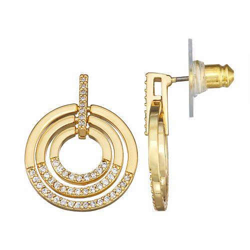 Dana Buchman Gold Tone Cubic Zirconia Pave Earrings