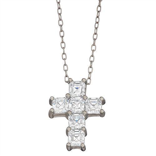 Contessa Di Capri Cubic Zirconia Asscher Cross Pendant Necklace