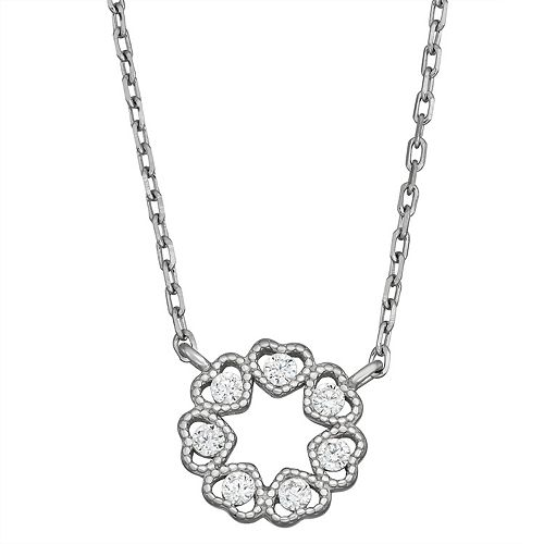 Contessa Di Capri Cubic Zirconia Circle Heart Necklace
