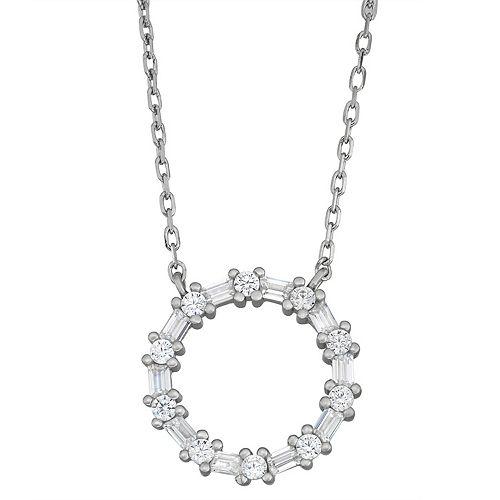 Contessa Di Capri Cubic Zirconia Circle Pendant Necklace