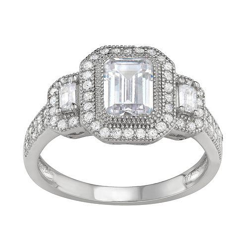 Contessa Di Capri Cubic Zirconia Emerald Cut Ring