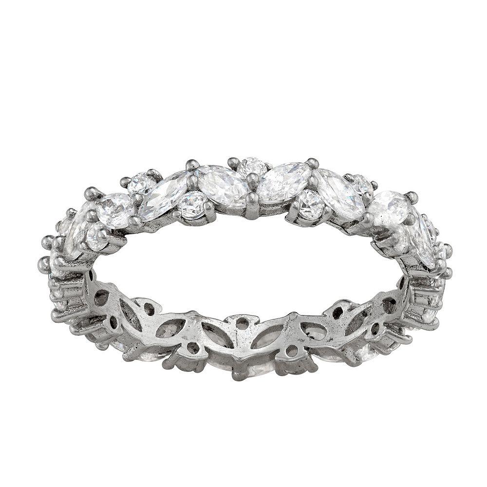 Contessa Di Capri Sterling Silver Cubic Zirconia Round Eternity Ring