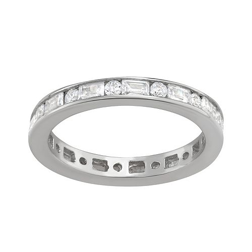 Contessa Di Capri Cubic Zirconia Square Bag Eternity Band