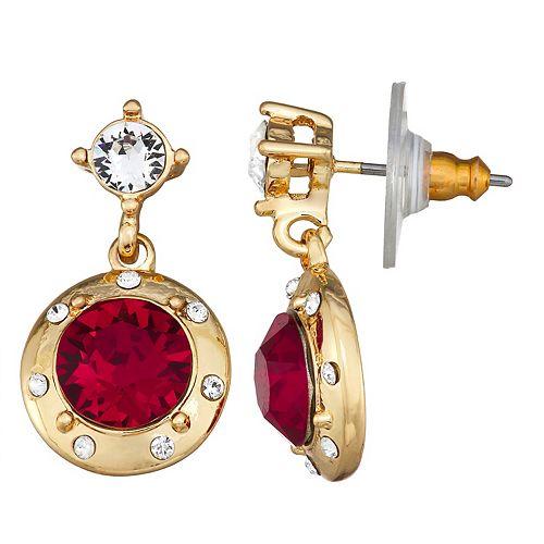 Dana Buchman Gold Tone Red & Clear Swarovski Crystal Double Drop Post Earrings