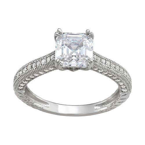 Contessa di Capri Sterling Silver Cubic Zirconia Asscher Cut Ring