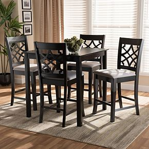 Baxton Studio Nisa Pub Table & Stool 5-piece Set