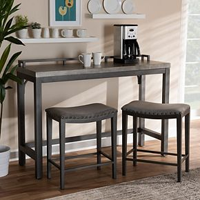 Baxton Studio Noll Pub Table & Stool 3-piece Set