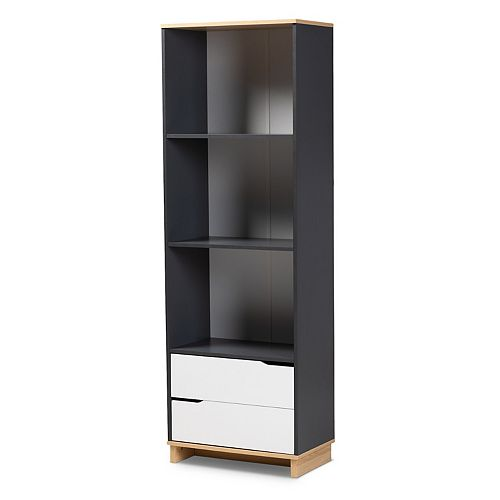 Baxton Studio Reed 3-Shelf Bookcase