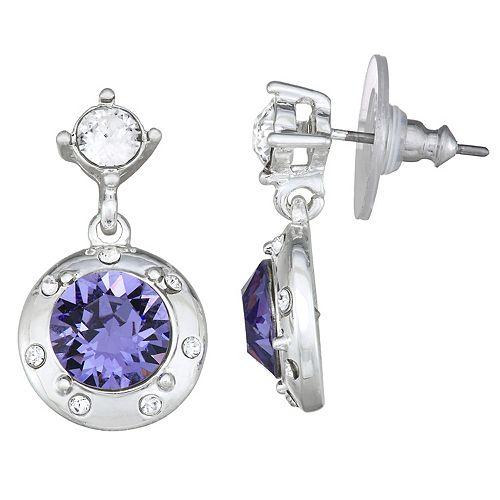 Dana Buchman Silver Tone Tanzanite Swarovski Crystal Double Drop Post Earrings