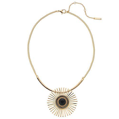 Nine West Gold Tone Burst Pendant Necklace