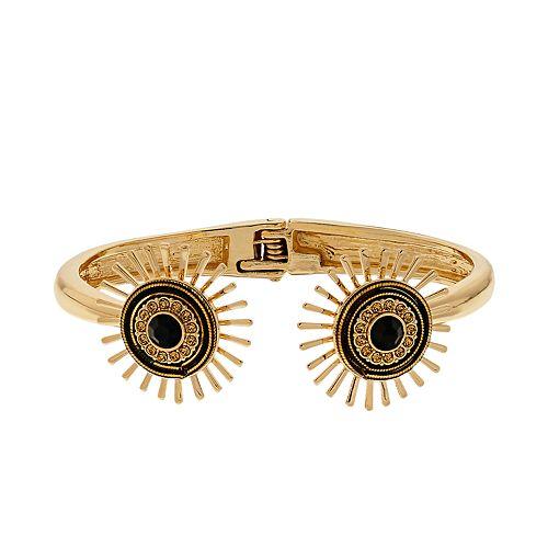 Nine West Gold And Black Hinged Cuff Bracelet