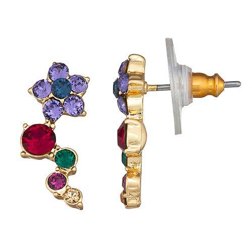 Dana Buchman Gold Tone Multi-Color Swarovski Crystal Crawler Post Earrings
