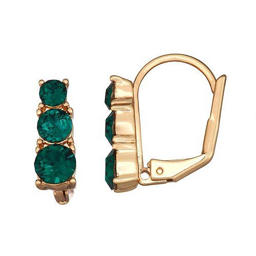 Dana Buchman 3 Green Stone Drop Leverback Post Earrings