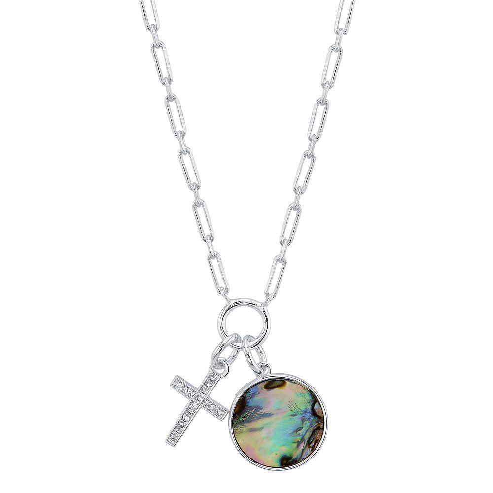 LovethisLife® Cubic Zirconia Cross & Abalone Disc Necklace