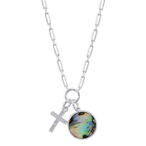 LovethisLife® Cubic Zirconia Cross & Abalone Disc Necklace