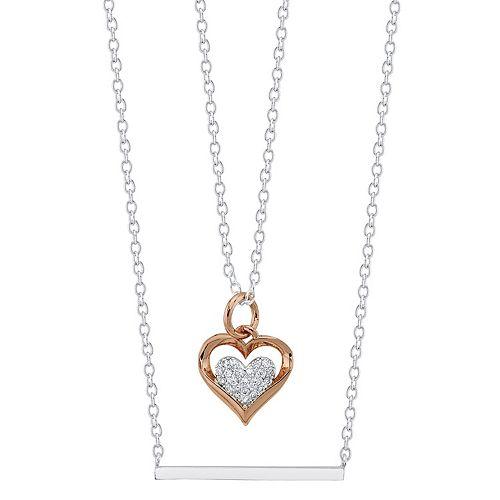 LovethisLife® Two-Tone Bar & Cubic Zirconia Heart Necklace Set