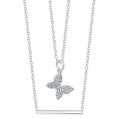 LovethisLife® Cubic Zirconia Butterfly & Bar Necklace Set