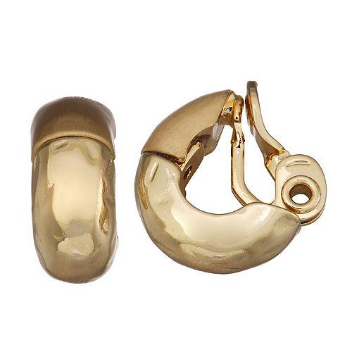 Dana Buchman Silver Tone Thick Semi-Hoop Earrings
