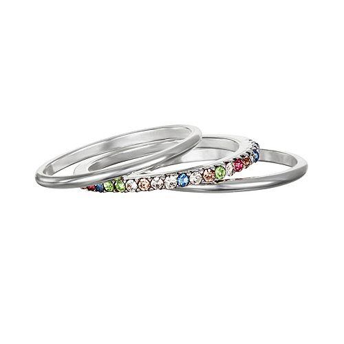 LC Lauren Conrad Rainbow Simulated Crystal Pave Midi Ring Set