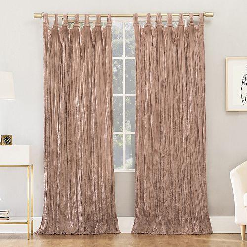 No 918 Odelia Distressed Velvet Tab Top Window Curtain