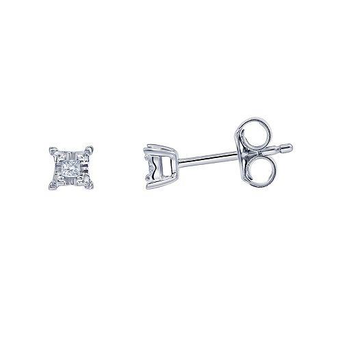 10k White Gold Diamond Accent Stud Earrings