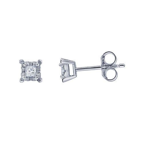 10k White Gold 1/6 Carat T.W. Diamond Stud Earrings