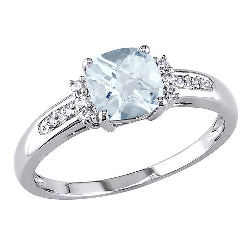 Stella Grace 10k White Gold Aquamarine & Diamond Accent Ring