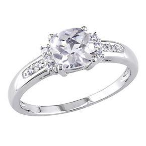 Stella Grace 10K White Gold White Topaz & Diamond Accent Ring
